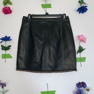 Black Leather Skirt with Grommet Detailing